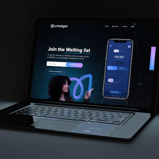Black laptop in dark mockup